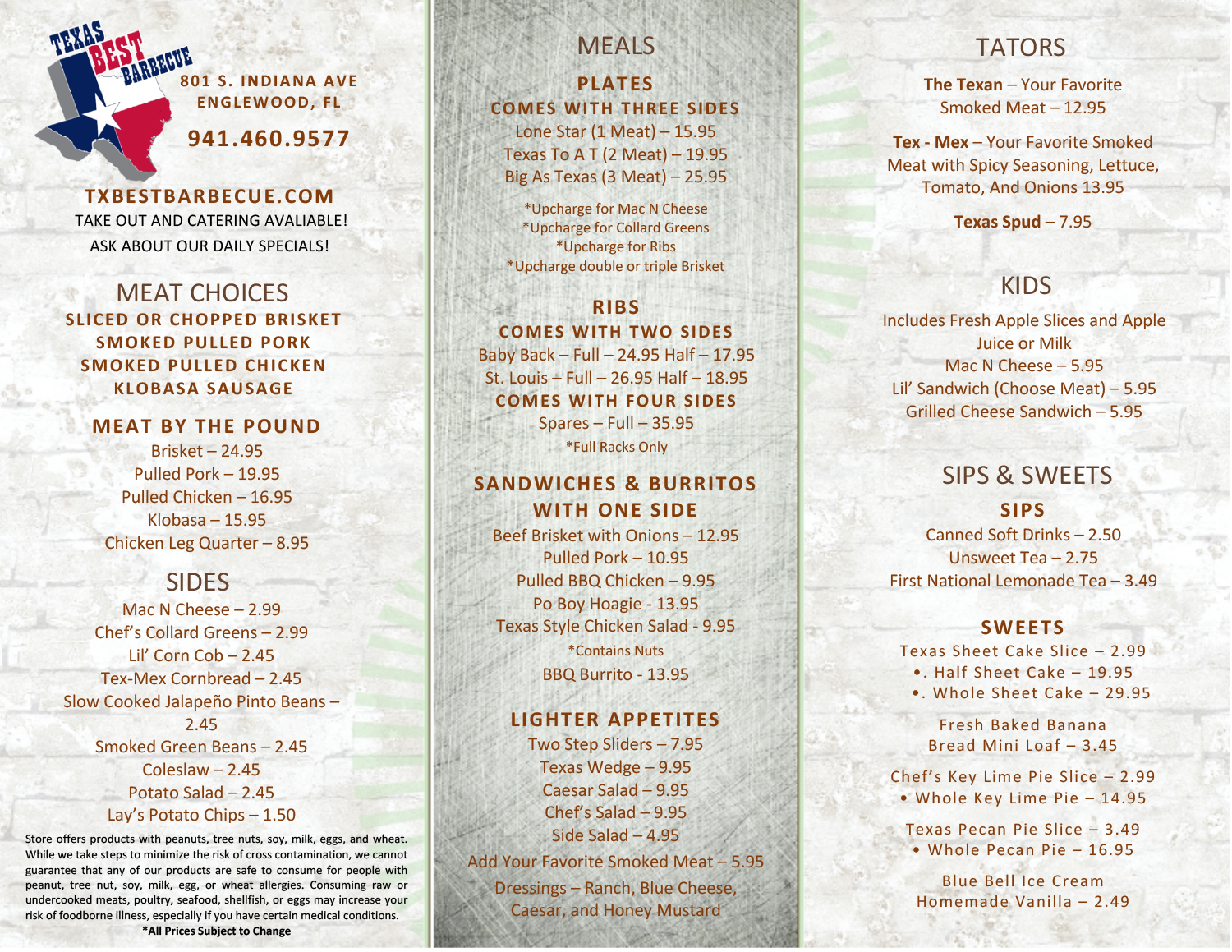 Texas Best Barbecue Menu